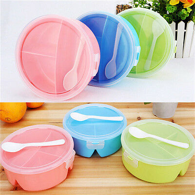 Round Portable Microwave Lunch Box Picnic Bento Food Container Storage+Spoon 3Q