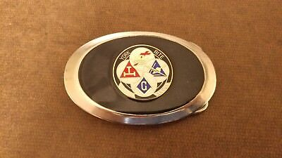 Silver York Rite Belt Buckle with the Emblems of Each Level on a Field of Black