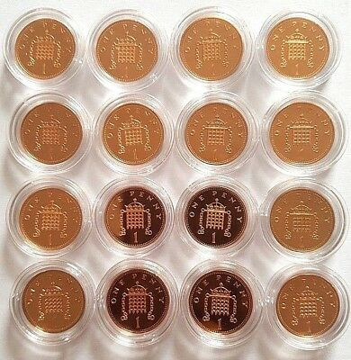 1983 - 2008 The Royal Mint Crowned Portcullis chains one penny 1p coin PROOF UK