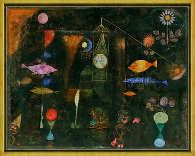 Framed Paul Klee Fish Magic Giclee Canvas Print Paintings Poster Reproduction