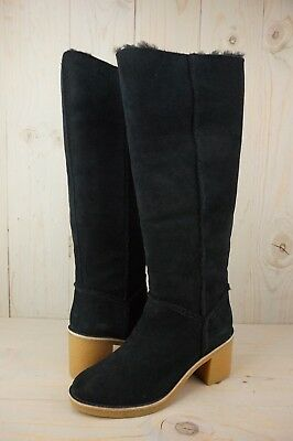 02f919ba108 UGG KASEN TALL Black Suede Exposed Shearling Seams Womens Boots Us ...