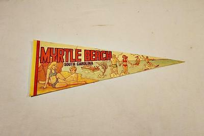 1970s Souvenir Felt Pennant Myrtle Beach South Carolina Beach Scene-BL