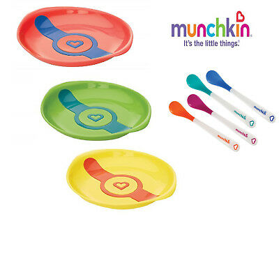 Munchkin Baby Feeding Dishes Food Weaning White Hot Plates 2Pack