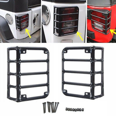 Pair Rear Tail Light Lamp Trim Cover Steel Guard For 07 - 18 Jeep Wrangler JK