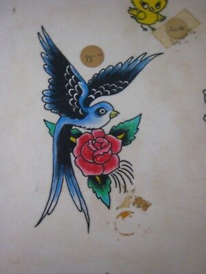 Vintage Tattoo Flash....' Birds '... Hand colored, 11'' x 14 ''
