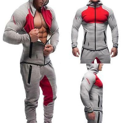 Sports Muscle Men Tight Coat Bottoms Pants GYM Fitness Workout Tracksuit Hoodie