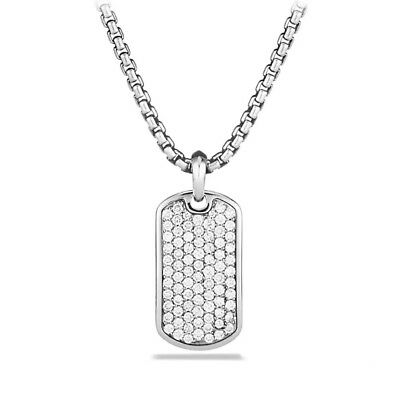 18K White Gold Iced Out CZ Dog Tag Stainless Steel Ball Chain Pendant Necklace