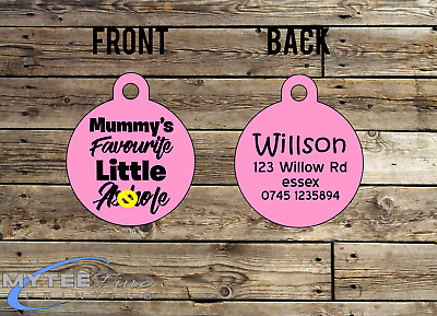Personalized Dog Cat ID Tag for Funny Mummys Favorite Little A****** Double Side