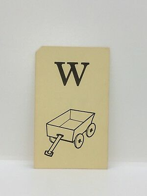 VTG School Flash Card Teacher Education Picture MCM 1950s Letter W For Wagon