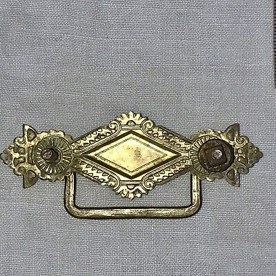 Antique Drawer Pull Handle Replacement Hardware Ornate Victorian Brass #17