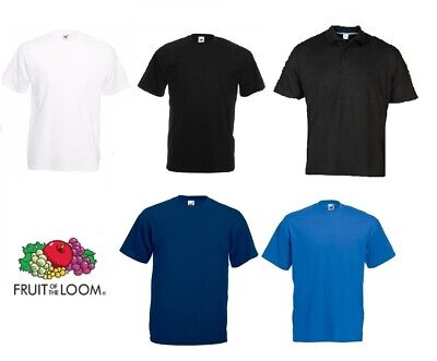3 5 10 20 Pack White Black or Blue Fruit Of The Loom Men 100% Cotton T-Shirt lot
