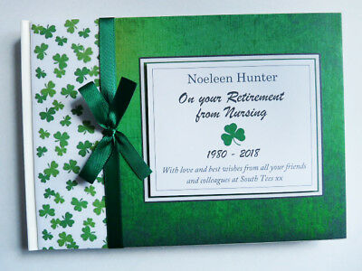Personalised Irish Theme Shamrock Birthday/retirement/wedding Guest Book