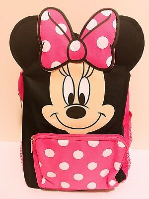 """12"""" Disney Minnie Mouse 3D Ear Back to School Small Toddler Girls Backpack NWT"""