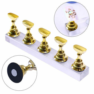 Crystal Salon Magnetic Manicure Nail Art Practice Display Stand False Tip Mount