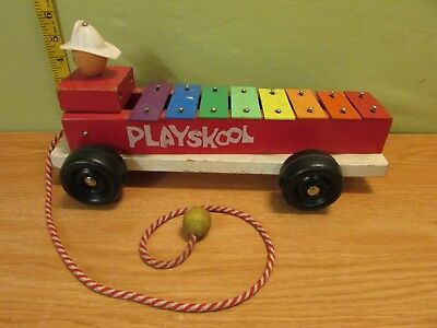 Vintage 1960  Fire Eng Playskool Wooden  Xyophone Fire Engine