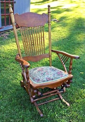 Vintage Antique Lowentraut Hall Glider Rocking Chair Wood Patent May 28, 1888