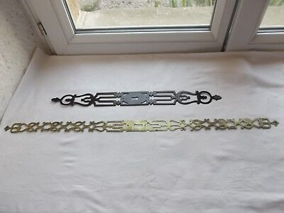 French 2 brass iron patina long  plates  with key hole antique to any projects