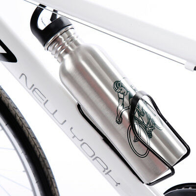 Indoor and Outdoor Activities Via Velo Bicycle Reflective Insulated Water Bottle /& Cage 26 oz Capacity BPA-Free Double Insulated Bike Water Bottle with Cage Mount For Sports