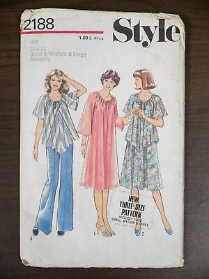 Style Sewing Pattern 2188 Ladies Maternity Clothes Size 8-18 1970s VINTAGE Uncut
