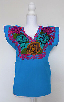 Mexican Peasant Blouse Women's Small Medium Blue Handmade Embroidered