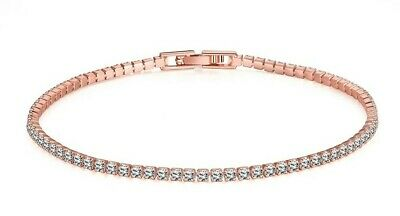 14K Rose Gold Plated Bracelet Made with Swarovski Crystals Link Snap Lock