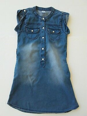 Girls Size 6 Dress CARTERS Chambray Blue Summer Snap Up Short Sleeved