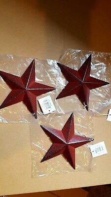 "Set of 3 5.5"" metal burgandy red primitive country barn stars"