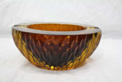 "Vintage 1960's Heavy Amber 7"" Blown Cut Glass Cigar/Cigarette Ash Tray"