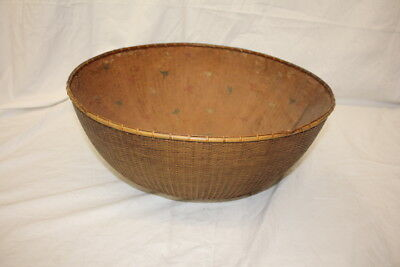 Vintage Japanese TAKEAMI Bamboo Woven Large Basket;Rice Paper Origami Lining 17""