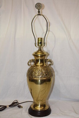 Vintage Mid-Century Large Brass Table Lamp Oriental Dragon Urn Design