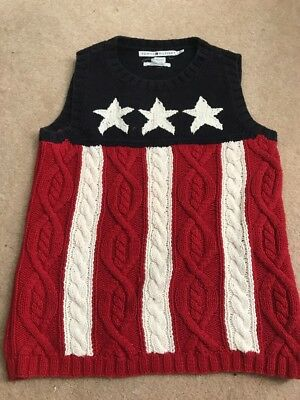 Vintage Tommy Hilfiger Size L Women's Vest Flag Cotton Sweater Hand Knit 2001