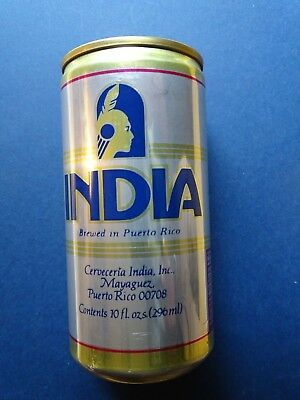 INDIA Cerveza Beer can, bottom opened from Puerto Rico