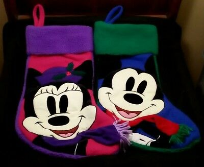 Lot of 2  Official Disney Store Christmas Stockings MINNIE and MICKEY MOUSE