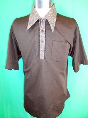 Vintage 60s 70s Dark Brown Polyester Campus Coordi-Knit USA Made Polo Shirt XL