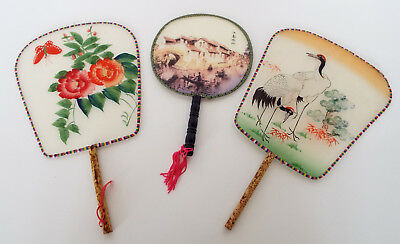 3 HAND PAINTED Silk PADDLE FANS Egret Asian Scene Floral Butterfly Japan China