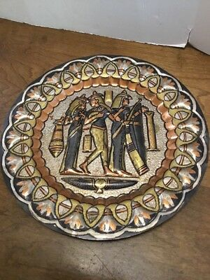 "Metal Round Egyptian Plate Multi Metal Color 11-5/8"" Copper Gold Black Silver"