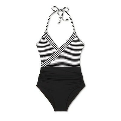 e6d416a8a542f New Target Sunn Lab Women s Striped Halter Wrap One Piece Bathing Suit S