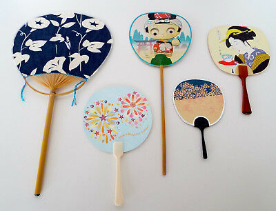 ASIAN Paddle FAN Lot Vintage JAPAN AIR LINES JAL Googly Eyes Tokyo Collection