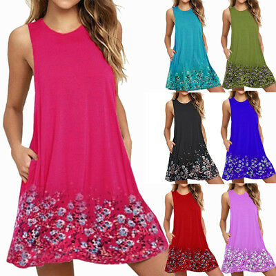 AU Plus Size Women's Sleeveless Floral Dress Ladies Summer Beach Midi Sun Dress