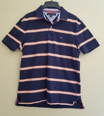 ffdd5205e6 Tommy Hilfiger Men's Polo Shirt size medium Navy with orange and white  stripe