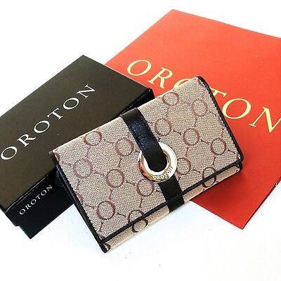 New OROTON Wallet Small Women High Signature O Canvas Leather Brown