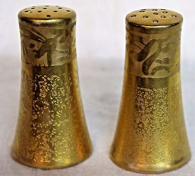 Bright Gold Salt & Pepper Shakers, Vintage Porcelain, Elegant Formal Occasion 3""