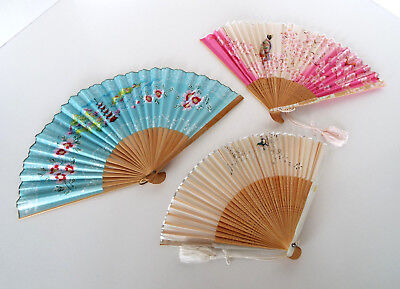 3 HAND PAINTED Silk Paper FANS Vintage ASIAN Japanese CHERRY BLOSSOM Birds LOT