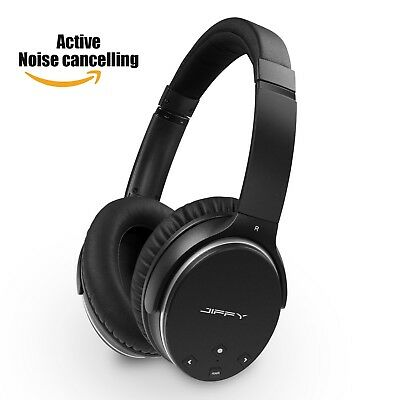 JIFFY J200 Active Noise Cancelling Bluetooth Wireless Headphones with Microph...