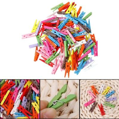 100Pcs Mini Wooden Craft Pegs 30mm Art Wedding Hanging Photo Clips Clothes Pins
