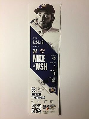 Milwaukee Brewers Vs Washington Nationals July 24, 2018 Ticket Stub
