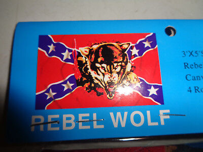 New REBEL WOLF FLAG 3 x 5 SUPER POLYESTER red white blue BRASS GROMMETS south MS