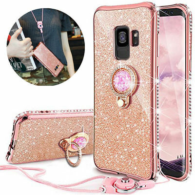For J6 Plus J4 A50 A70 Diamond Ring Stand Bling Glitter TPU Case Cover &Lanyard