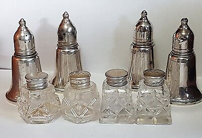 4 Sets of Sterling Silver Salt & Pepper Shakers- 925 Silver -One price for all!
