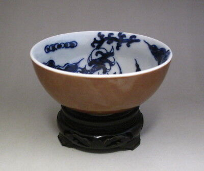 Nice Chinese Antique Brown Glaze Blue and White Porcelain Dragon Bowl